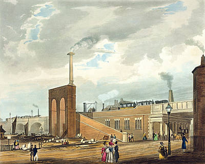 Train Drawing - Entrance Into Manchester Across Water by Thomas Talbot Bury