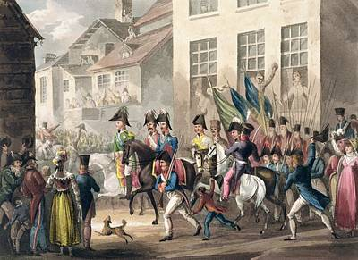 Crowd Scene Drawing - Entrance Of The Allies Into Paris by William Heath