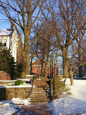 Photograph - Entrance To Central Moravian Church Campus From Main Street Bethlehem by Jacqueline M Lewis
