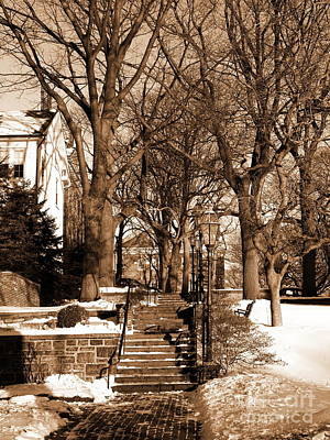 Photograph - Sepia - Entrance To Central Moravian Church Complex From Main Street Bethlehem Pa by Jacqueline M Lewis