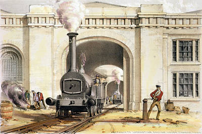 Train Tracks Drawing - Entrance To Locomotive Engine House by John Cooke Bourne