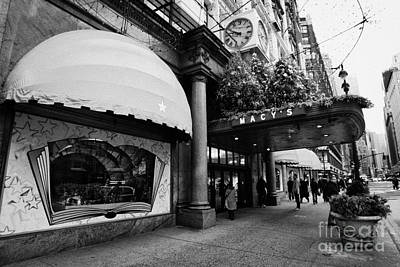 entrance to Macys department store on Broadway and 34th street at Herald square christmas Art Print by Joe Fox