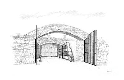Entrance Door Drawing - Entrance To Megalomaniac Winery by Steve Knapp