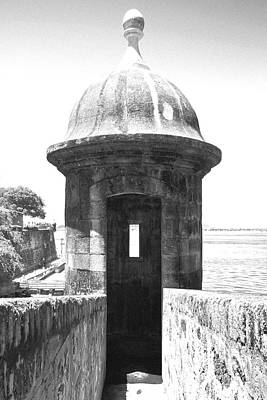 Photograph - Entrance To Sentry Tower Castillo San Felipe Del Morro Fortress San Juan Puerto Rico Bw Film Grain by Shawn O'Brien