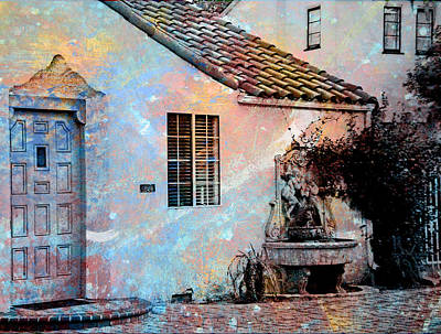 Art Print featuring the photograph Entrance To Stucco Spanish Style House by John Fish
