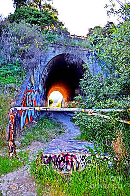 Photograph - Entrance To The Abandoned Train Tunnel South Of The Old Train Roundhouse At Bayshore Near Sf by Jim Fitzpatrick