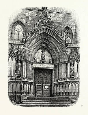 Barcelona Drawing - Entrance To The Church Of Santa Maria Del Mar by Spanish School