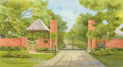 South Louisiana Painting - Entrance To The Estate by Joyce Hensley