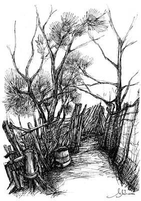 Garden Entrance Drawing - Entrance To The Garden by Mihai Manea