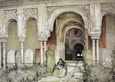 Columns Drawing - Entrance To The Hall Of The Two Sisters by John Frederick Lewis