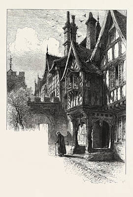 Entrance To The Porch Of Leicester Hospital Print by English School