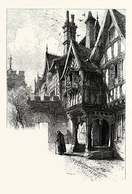 Entrance To The Porch Of Leicesters Hospital, Warwick, Uk Art Print by English School