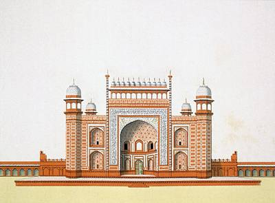 Tower Drawing - Entrance To The Taj Mahal by German School