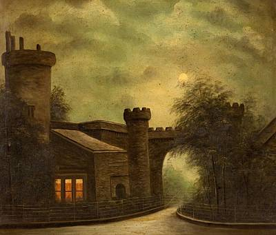 Moonlit Painting - Entrance To Towneley Park, By Moonlight by English School