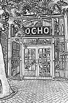 Digital Art - Entrance To Trendy Ocho Restaurant In San Antonio Texas Black And White Digital Art by Shawn O'Brien