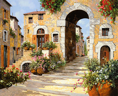 Painting Royalty Free Images - Entrata Al Borgo Royalty-Free Image by Guido Borelli