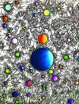 Art Print featuring the drawing Entropy Color Variation 4 by Devin  Cogger