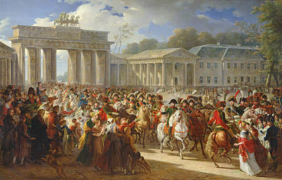 Entry Of Napoleon I 1769-1821 Into Berlin, 27th October 1806, 1810 Oil On Canvas Art Print by Charles Meynier