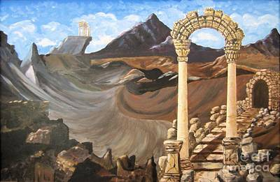 Painting - Entry To The Valley Of Secret Ruins    Painting by Judy Via-Wolff