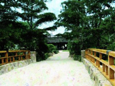 Mixed Media - Entryway Morikami Gardens by Florene Welebny
