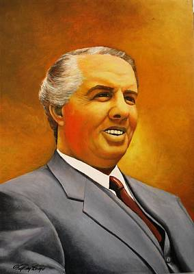 Albania Painting - Enver Hoxha Portrait by Kujtim Lame