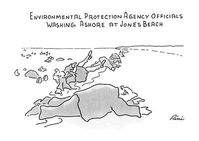 Protection Drawing - Environmental Prodection Agency Officials Washing by J.P. Rini
