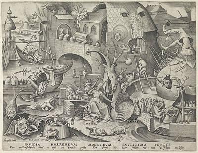 Deadly Drawing - Envy, Pieter Van Der Heyden, Hieronymus Cock by Pieter Van Der Heyden And Hieronymus Cock