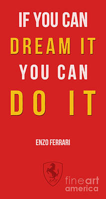 Landscape Drawing - Enzo Ferrari Quote - If You Can Dream It by Drawspots Illustrations