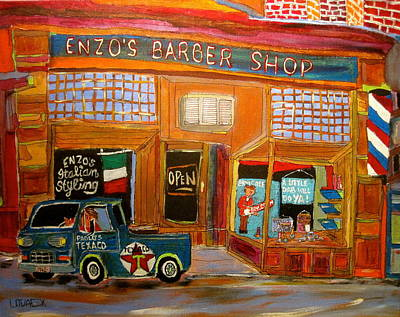 Ford Econoline Painting - Enzo's Barber Shop by Michael Litvack