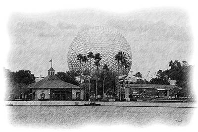 Tourist Attraction Drawing - Epcot - Pencil by Jenny Hudson
