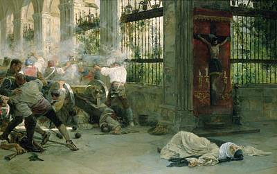 Episode From The War Of Independence, 1892 Oil On Canvas Art Print by Eugenio Alvarez Dumont