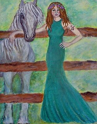 Patrick Painting - Epona...celtic Goddess Of Horses by The Art With A Heart By Charlotte Phillips