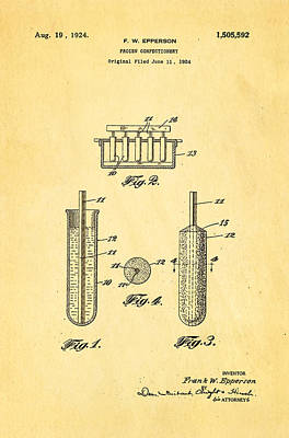 Photograph - Epperson Popsicle Patent Art 1924 by Ian Monk
