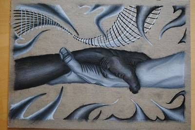 Racism Drawing - Equal Grasp by Garrett Hammersley