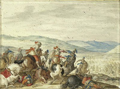 1636 Drawing - Equestrian Battle In A Mountainous Landscape by Litz Collection