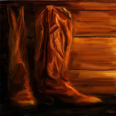 Race Horse Digital Art - Equestrian Boots by Lourry Legarde