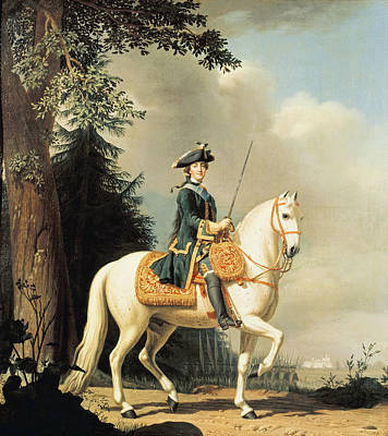 Equestrian Portrait Of Catherine II 1729-96 The Great Of Russia Oil On Canvas Art Print by Vigilius Erichsen