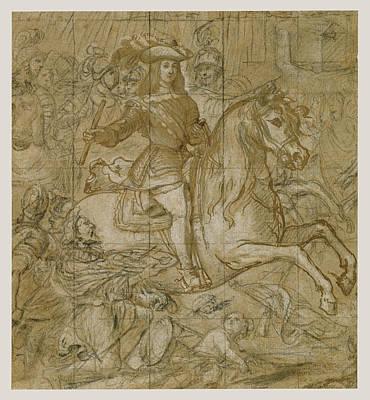 Wash Drawing - Equestrian Portrait Of Don Juan José Of Austria José by Litz Collection