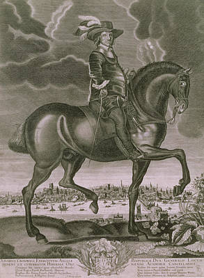 Engraving Drawing - Equestrian Portrait Of Oliver Cromwell  by Albert Haelwegh