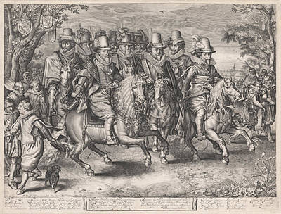 Equestrian Procession Of The Six Princes Of The House Art Print by Willem Jacobsz. Delff And Jan Pietersz. Van De Venne