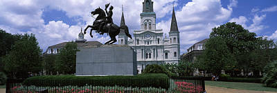 Equestrian Statue In Front Art Print by Panoramic Images