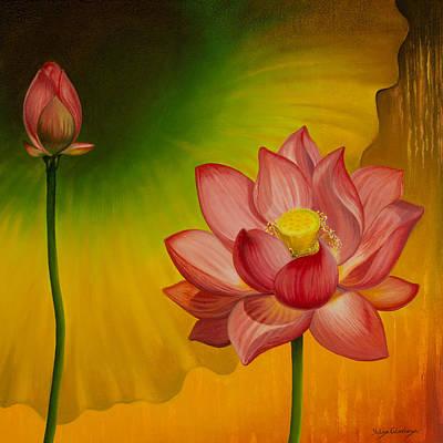 Lotus Bud Painting - Equilibrium by Yuliya Glavnaya