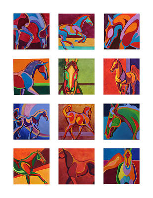 Arch Shapes Painting - Equine Shapes Composite Of Twelve by Robyn Ryan