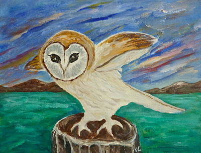 Painting - Equinox Owl by Victoria Lakes