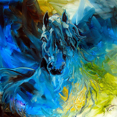 Abstract Painting - Equus Blue Ghost by Marcia Baldwin