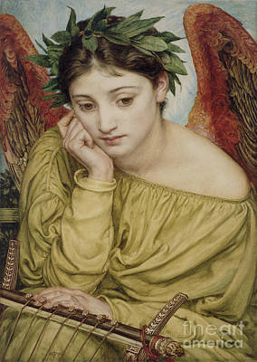 Chin Painting - Erato Muse Of Poetry 1870 by Sir Edward John Poynter