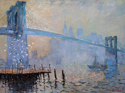 Brooklyn Bridge Painting - Erbora And The Seagulls by Ylli Haruni