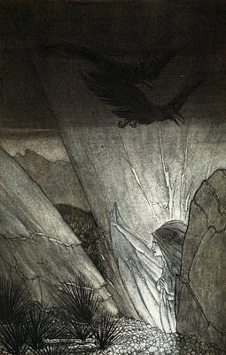 Raven Drawing - Erda Bids Thee Beware, Illustration by Arthur Rackham