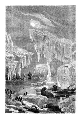 Arctic Drawing - Erebus And Terror In The Ice 1866 by Hakon Soreide