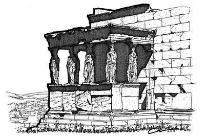 Greek Icon Drawing - Erechtheion Caryatids by Calvin Durham